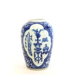 "Kangxi blue & white vase The""Eight Treasures"""