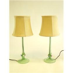Pair swirled green glass boudoir lamps