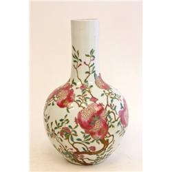 Porcelain Rose Famille vase with Kangxi mark