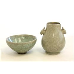 2 Chinese Celadon small pottery vases & bowl