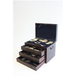 Silver plated flatware on a fitted box