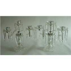 Pair 3 arm crystal candelabrum
