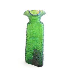 Green art glass bud vase unsigned Loetz