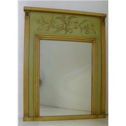 Paint decorated green & beige mirror
