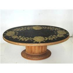 Oval reverse painted coffee table