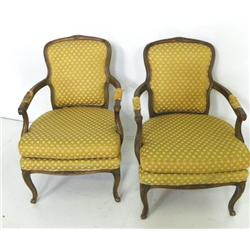 2 French walnut open arm chairs