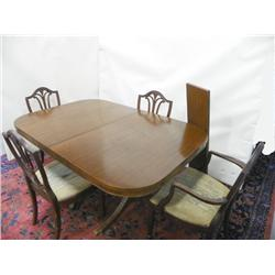 Mahogany double pedestal table & 4 chairs