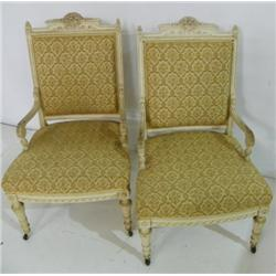 Pair painted Victorian arm chairs