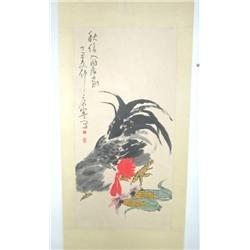 "Chinese scroll ""Rooster with Corn"""