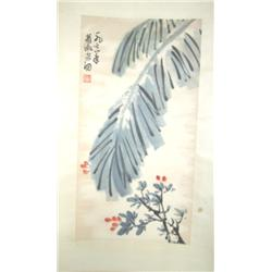 "Chinese scroll by Xiao Shu Fang ""Palm Leaf"""