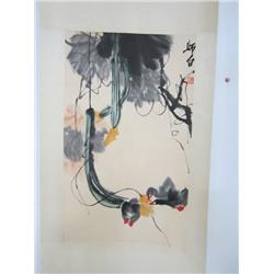 "Chinese scroll of ""Hanging Flowers"""