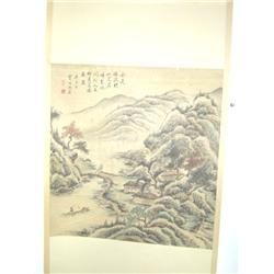 "Chinese scroll ""Mountains on Lake with House"""