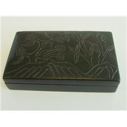 Spinach jade box with carved lid