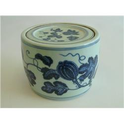 Ming style covered blue & white jar signed