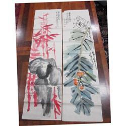 2 soft paper panels signed Wu Chang Shou