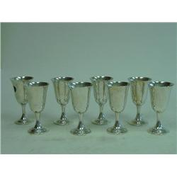 Lot of 8 sterling silver Fischer goblets