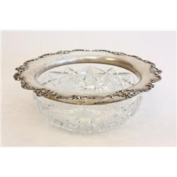 Sterling silver cut glass bowl signed Gorham