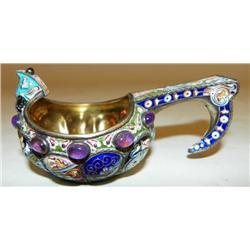Russian silver enamel kvosh with stones