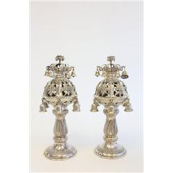 Pair 19th c silver Judaica Torah Crowns