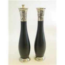 Pair sterling silver,wood salt & pepper shakers