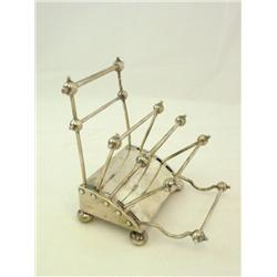 Early 20th c English sterling silver toast rack