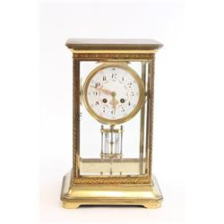 French bronze & crystal regulator clock