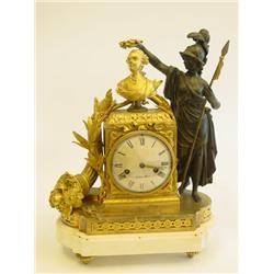 French Empire bronze figural mantle clock
