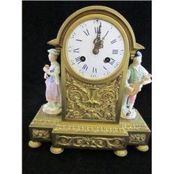 Bronze clock with 2 Meissen porcelain figures