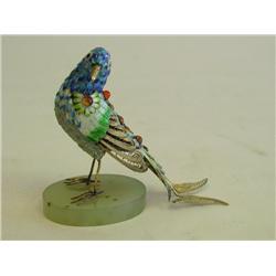 """Silver & enamel Chinese """"Bird"""" on onyx base"""
