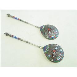 Pair silver & enamel serving spoons