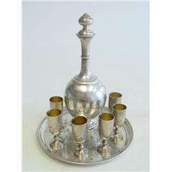 20th c. Russian silver liquor set