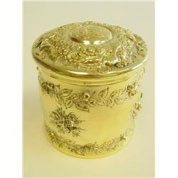 Tiffany gold on sterling silver jar with puff