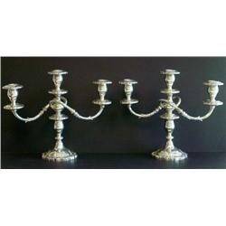 Pair sterling silver English Rose candelabrum