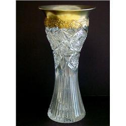 American cut crystal & sterling silver vase