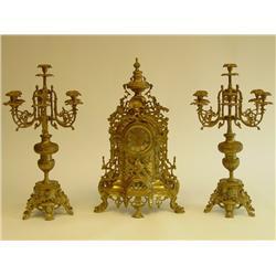 3 piece bronze clock set