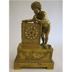 "Gilt bronze mantle clock with ""Cupid & Shell"""