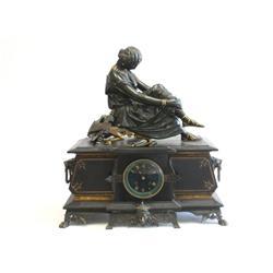 19th c. bronze & black slate clock