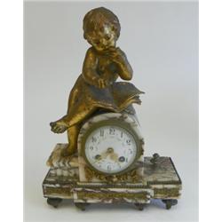 "Gilt metal & marble clock of ""Cherub Writing"""