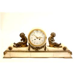 19th c. bronze & marble mantle clock