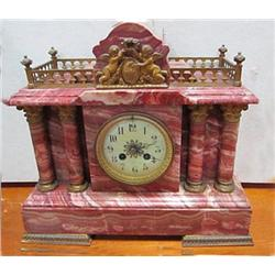 Rouge marble mantle clock