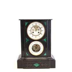 19th c. slate & malachite barometer / clock
