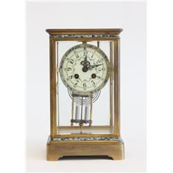 Bronze & enamel crystal regulator clock
