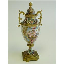 French enamel & porcelain covered urn