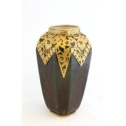 French deco pottery vase with bronze overlay