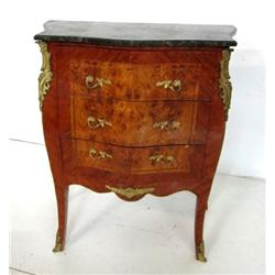 Black marble top bronze mounted commode