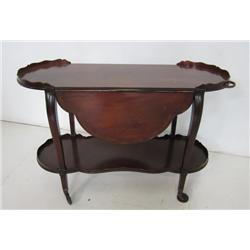 Mahogany drop leaf banded teacart  ca. 1930's