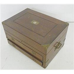 Mahogany  silverware chest with brass corners