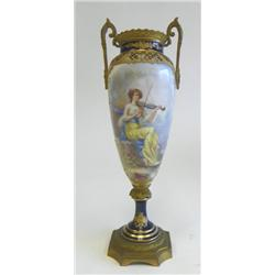 "Sevres vase depicting ""Girl Playing Violin"""