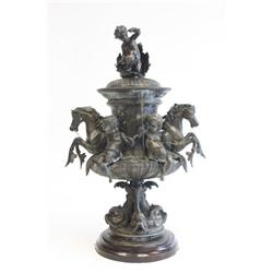 "Bronze covered urn of ""Putti & Horse"""
