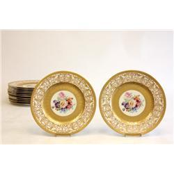 Set of 12 Floral service plates